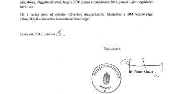 Belügyminiszteri tájékoztató levél a FÜV eljárásokkal kapcsolatos megkeresésünkre